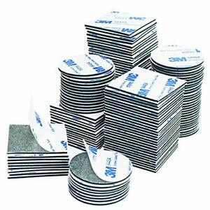 Double Sided Sticky Pads, 130 Pcs Black Squares and Round Extra Strong Adhesive