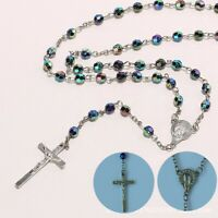 Women Silver Christian Cross Catholic Virgin Resin Beads Rosary Necklace