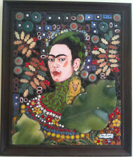 Frida Kahlo with Parrot HANDMADE Ceramics by Rebeca Fernandez (Costa Rica)