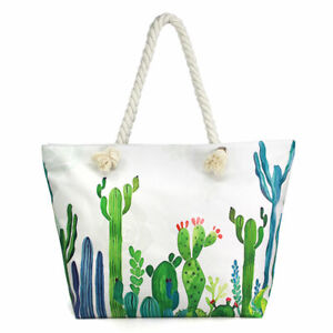 NEW Green Cactus Watercolor Print White Canvas Purse Tote Travel Shopping Bag