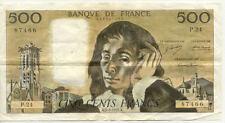 BILLET BANQUE 500 Frs PASCAL 05-08-1971 A P.24 TTB+