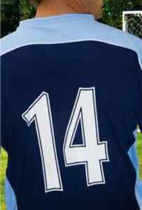 5 A SIDE SET OF FOOTBALL SHIRT NUMBERS 1- 8 WHITE EASY 2 APPLY iron / heatpress