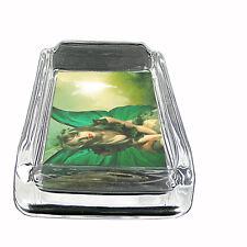 Glass Square Ashtray Fairies Design-005 Custom Fae Faery Imps Pixies Magick