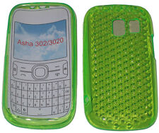 Per Nokia Asha 302 / 3020 PATTERN GEL JELLY CASE COVER PROTECTOR Pouch Green new