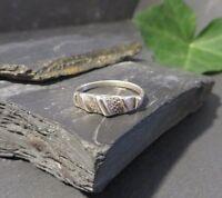 Schöne 925 Silber Ring Modern Struktur Designer Unisex Damen Herren Elegant Top