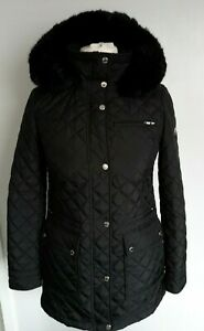 CALVIN KLEIN - Padded Quilted Coat Removable Faux Fur Trim Hood Black Size XS 8