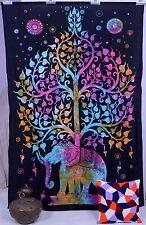 Indian Mandala Tree Of Life Wall Hanging Elephant Tapestry Throw Decor Bedspread
