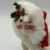 """Vintage Annalee Doll 4.5"""" Christmas Cat with Hat 1999"""