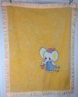 Vintage Baby Blanket Elephant Yellow Orange Mcm Mid Century Plush Antique