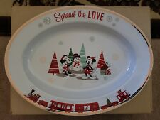 Disney Mickey & Minnie Spread The Love Christmas Holiday Serving Dish Platter