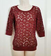 NEW LOOK Burgundy Velvet Touch Lace elasticated waist Blouse Jumper Top s8 skirt
