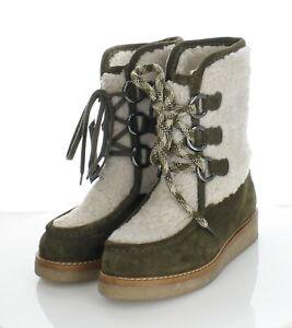 39-38 NEW $595 Women's Sz 8.5 M Aquatalia Wynter Suede & Shearling Platform Boot