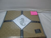 "Waterford Linens OLYMPIA Dual King Bedskirt 78""x80""  18"" Drop ~ GOLD NIP"