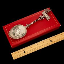 Antique Vintage Victorian Sterling 833 Silver Dutch Medieval Scene Serving Spoon