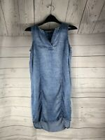Max Jeans Women Blue Chambray style Casual Dress XS with pockets