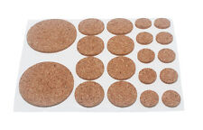 NEW ASSORTED ROUND CORK PADS SELF ADHESIVE 20 PER SHEET 2MM THICK (Box QTY 200 )