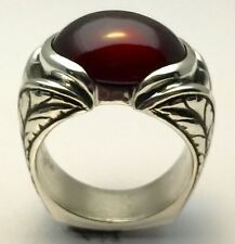 MJG STERLING SILVER 16 X 12MM HESSONITE GARNET CAB RING.ANT. ENGRAVED. SZ 9 1/2