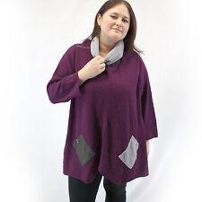 NEW Margaret Winters Crunchy Cotton Uneven Hem Cowl Sweater Blouse Elderberry 3X