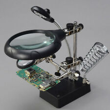 Helping Hand Soldering Iron Stand Magnifying Lens Magnifier With 5 LED Light