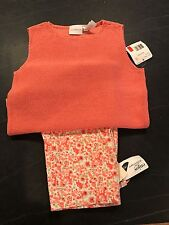 Women's Flower Capris & Knit Sweater Tank Coral Liz Claiborne Lord & Taylor NWT