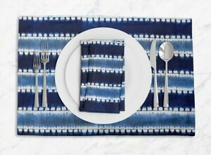 S4Sassy Stripe Shibori Everyday Placemats With Napkins Table Decor-SH-30A
