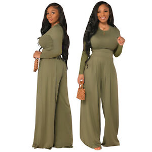 Women Long Sleeves Solid Color Wide Legs Long Pants Set Casual Fall Winter 2 Pc