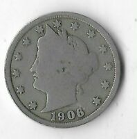 Rare Very Old Antique 1906 US Lady Liberty V Nickel Collection Coin 5 Cent G13