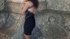 BEBE sexy diamante sparkly brow/gold bandage bodycon party dress open back S