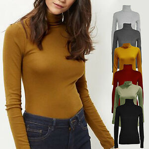 LADIES LONG SLEEVE STRETCH POLO ROLL NECK TOP JERSEY STYLE 8 - 18 BLACK KHAKI