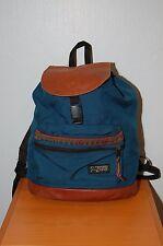 Vintage JANSPORT Backpack Leather Top & Bottom Cinch/Drawstring - USA Made Blue