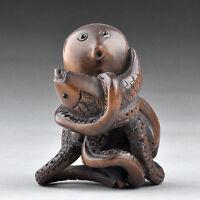 "1940's Japanese Boxwood Wood Netsuke ""Octopus Catch Carp Fish"" Figurine Carving"