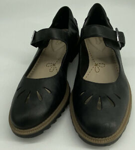 CLARKS SOMERSET WOMEN'S BLACK LEATHER GRIFFIN MARNI MARY JANE FLAT SHOES  UK 6D