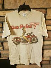 Van Halen Shirt Medium 2012 World Tour Pin Up on Motorcycle Tan Beige New!