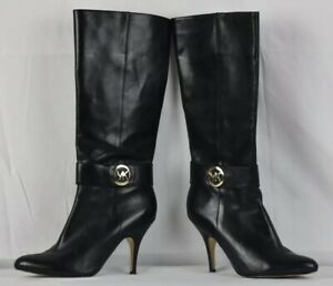 Michael Kors Caroline Black Leather with Gold Hardware Woman Boots Heels Size 8