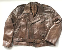 Vintage Lufthansa Airlines Custom Pilots Brown Leather Jacket Milano Baggages XL