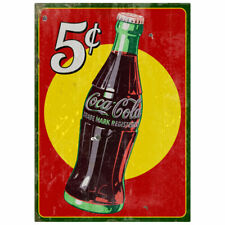 Coca-Cola 5 Cents Bottle Wall Decal 17 x 24 Very Distressed Vintage Style