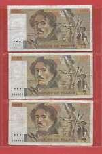 Lot de 3 x 100 FRANCS EUGENE  DELACROIX de 1985 ALPHABETS   Y.90
