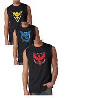 Men's Black Sleeveless T-Shirt 3 types Pokemon GO Team MYSTIC VALOR INSTINCT