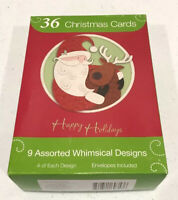 36 Happy Holidays Christmas Cards w/ Envelopes 9 Assorted Designs 4 Of Each