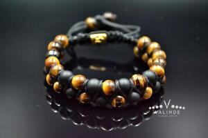 Men's Tiger's eye Onyx Double Row Gemstone Bracelet Macrame Beaded Bracelet