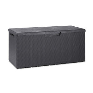 Toomax Z175E097 Weather Resistant Resin 90G Deck Box, Gray Black (Open Box)