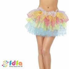 1980s SPARKLE RAINBOW TUTU WITH SEQUINS ladies womens fancy dress accessory