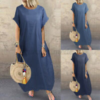 UK Womens Summer Holiday Beach Short Sleeve Casual Loose Kaftan Baggy Maxi Dress