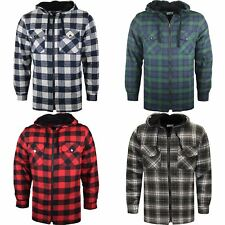 MENS PADDED SHIRT QUILTED LINED LUMBERJACK FLANNEL HOODED WORK JACKET WARM TOP