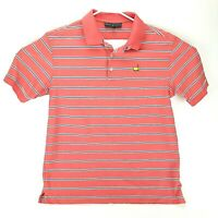 Masters Collection Mens XL Salmon Pink Striped Blue Polo Shirt Embroidered