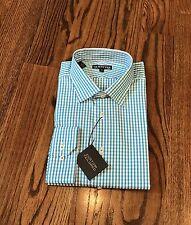 "NWT GOTSTYLE Men's Spread Collar Check Dress Shirt Aqua $165 - 17.5"""