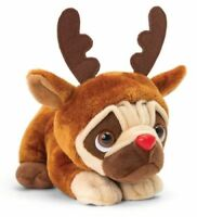 Keel Toys CHRISTMAS Pug Dog PUGSLEY with Sound REINDEER OUTFIT 26cm Soft Toy