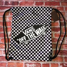 VANS Off The Wall Checked Cinch Sack Backpack Black & White New