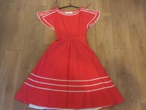 True Vintage 1950s 1960's red Dress with white dots