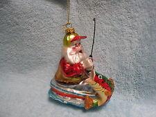 Fisherman Santa in Boat w/ Rod & Reel Fishing Pole & Fish Catch Glass Ornament